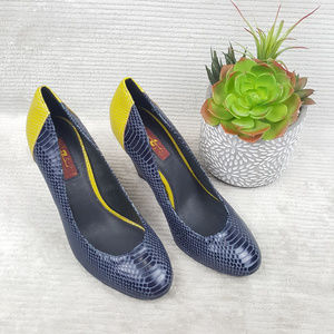 7 For All Mankind Snakeskin Heels Navy & Yellow